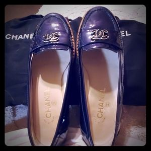 Chanel navy paton logo  Loafers